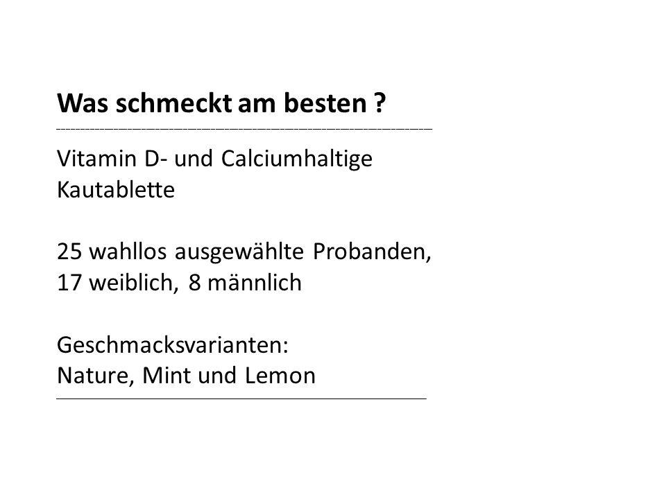 Was schmeckt am besten ? _________________________________________________________________________________ Vitamin D- und Calciumhaltige Kautablette 2
