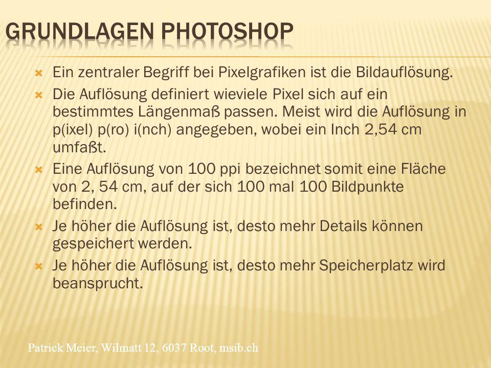 Patrick Meier, Wilmatt 12, 6037 Root, msib.ch Ein zentraler Begriff bei Pixelgrafiken ist die Bildauflösung.