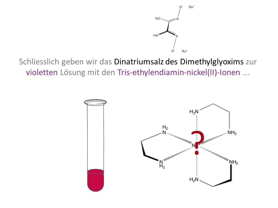 Schliesslich geben wir das Dinatriumsalz des Dimethylglyoxims zur violetten Lösung mit den Tris-ethylendiamin-nickel(II)-Ionen... ?