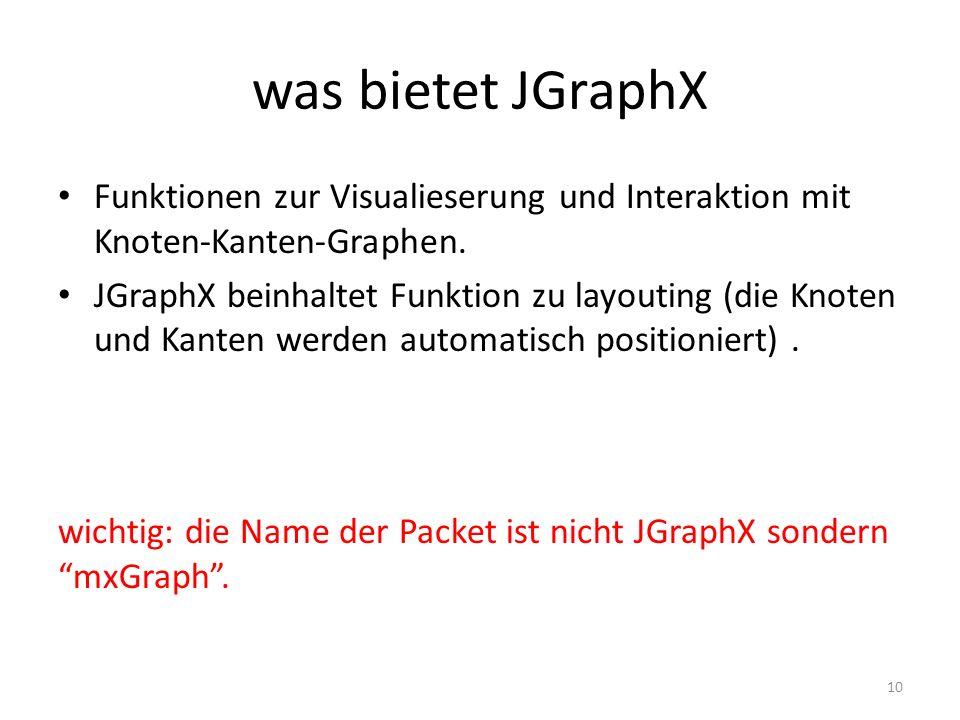 was bietet JGraphX Funktionen zur Visualieserung und Interaktion mit Knoten-Kanten-Graphen. JGraphX beinhaltet Funktion zu layouting (die Knoten und K