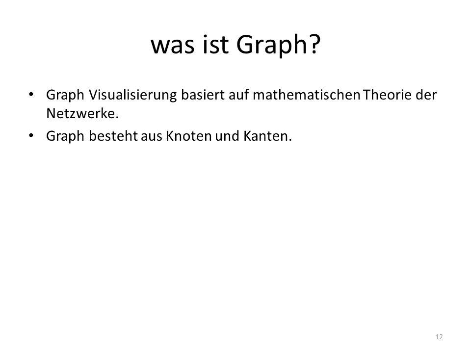 was ist Graph? Graph Visualisierung basiert auf mathematischen Theorie der Netzwerke. Graph besteht aus Knoten und Kanten. 12