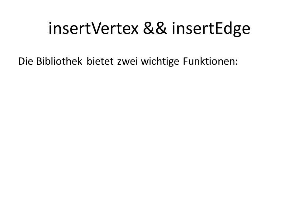 insertVertex && insertEdge Die Bibliothek bietet zwei wichtige Funktionen: