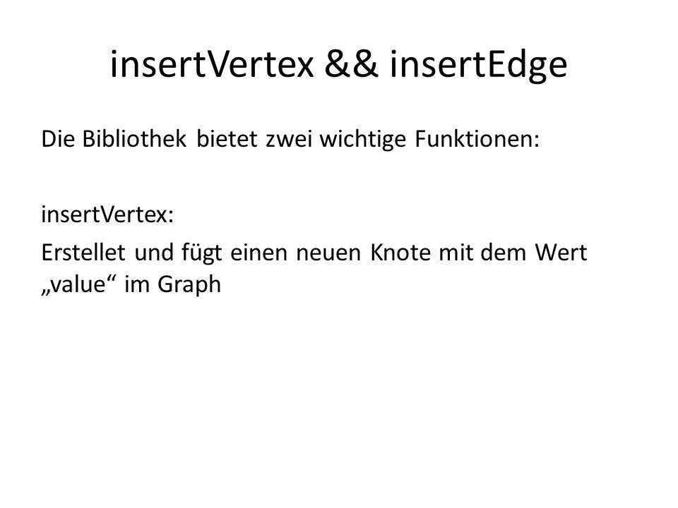 insertVertex && insertEdge Die Bibliothek bietet zwei wichtige Funktionen: insertVertex: Erstellet und fügt einen neuen Knote mit dem Wert value im Gr