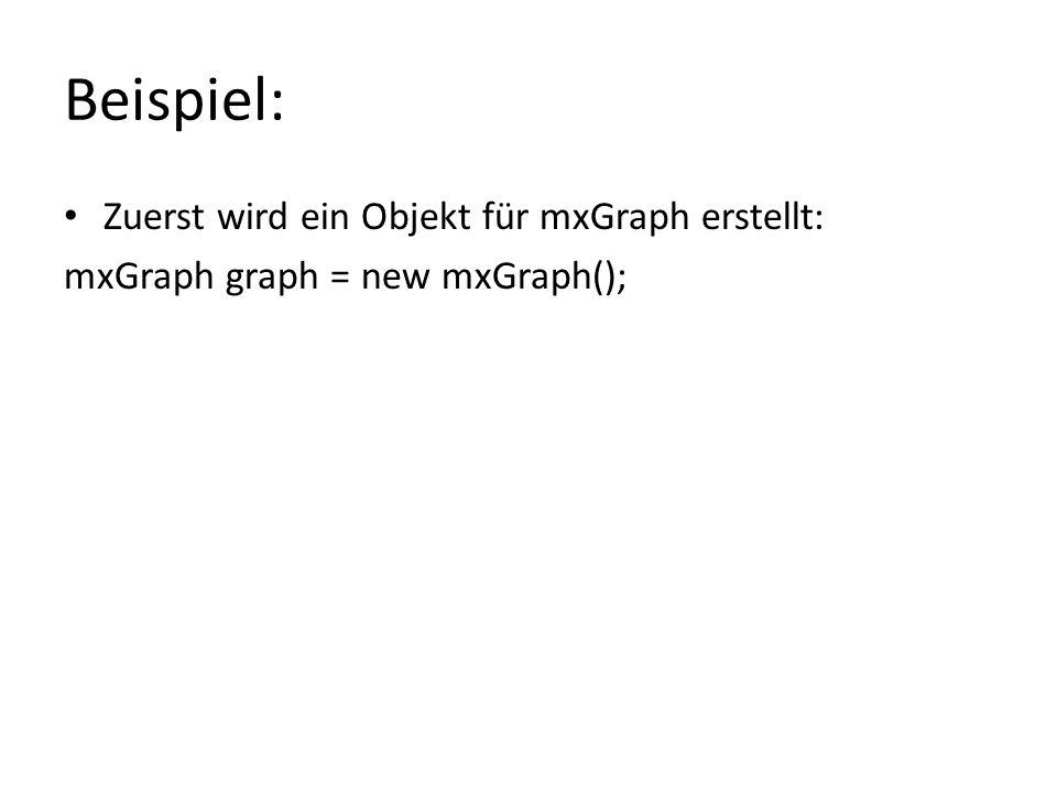 Beispiel: Zuerst wird ein Objekt für mxGraph erstellt: mxGraph graph = new mxGraph();