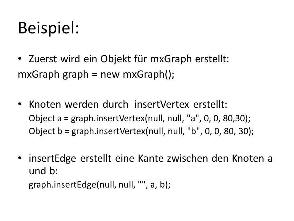 Beispiel: Zuerst wird ein Objekt für mxGraph erstellt: mxGraph graph = new mxGraph(); Knoten werden durch insertVertex erstellt: Object a = graph.inse