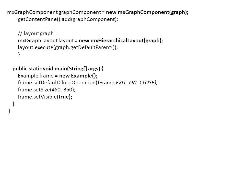 mxGraphComponent graphComponent = new mxGraphComponent(graph); getContentPane().add(graphComponent); // layout graph mxIGraphLayout layout = new mxHie