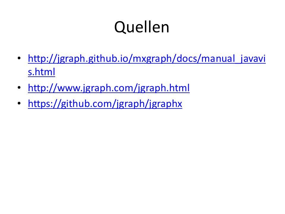 Quellen http://jgraph.github.io/mxgraph/docs/manual_javavi s.html http://jgraph.github.io/mxgraph/docs/manual_javavi s.html http://www.jgraph.com/jgra