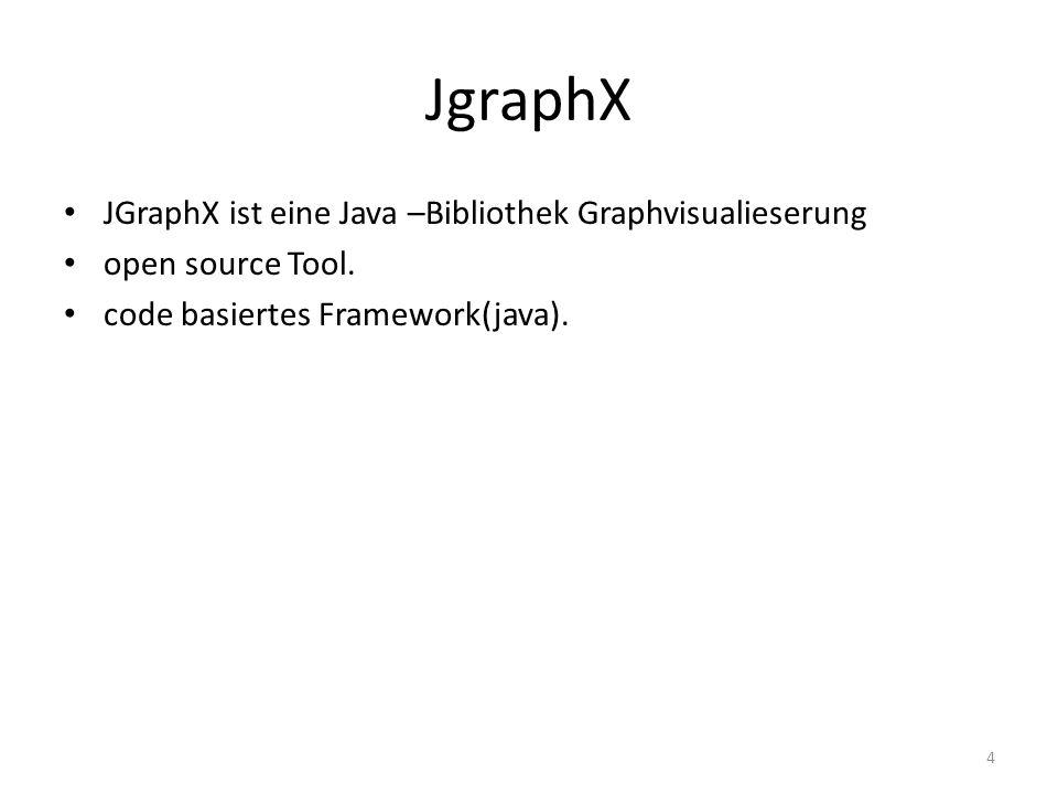 JgraphX JGraphX ist eine Java –Bibliothek Graphvisualieserung open source Tool. code basiertes Framework(java). 4