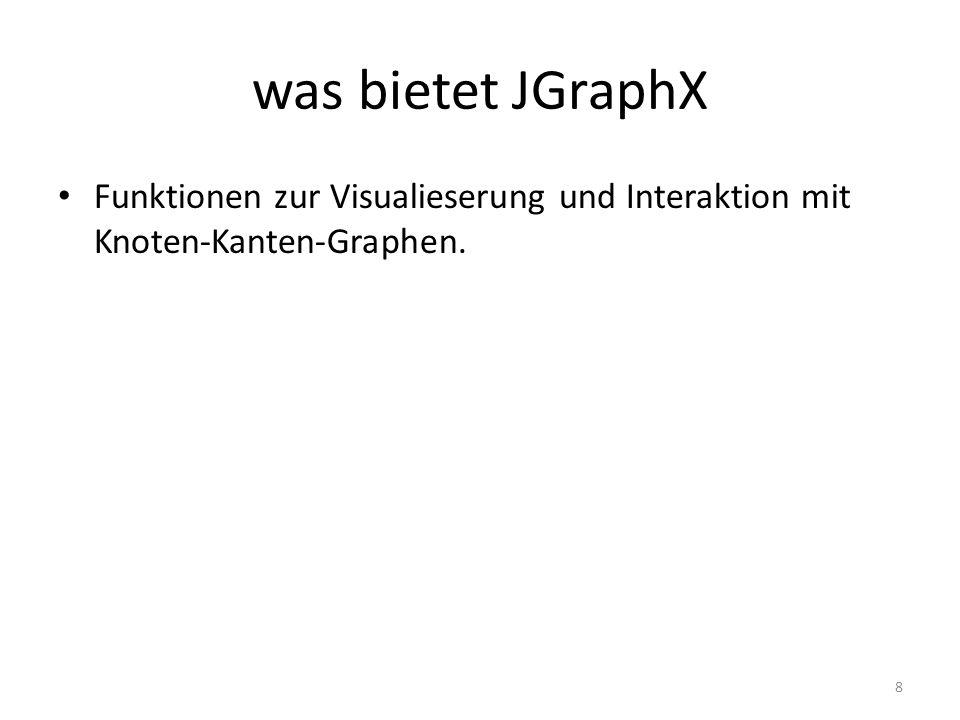 insertVertex && insertEdge Die Bibliothek bietet zwei wichtige Funktionen: insertEdge: erstellt und fügt eine neue Kante zwischen zwei Knoten im Graph