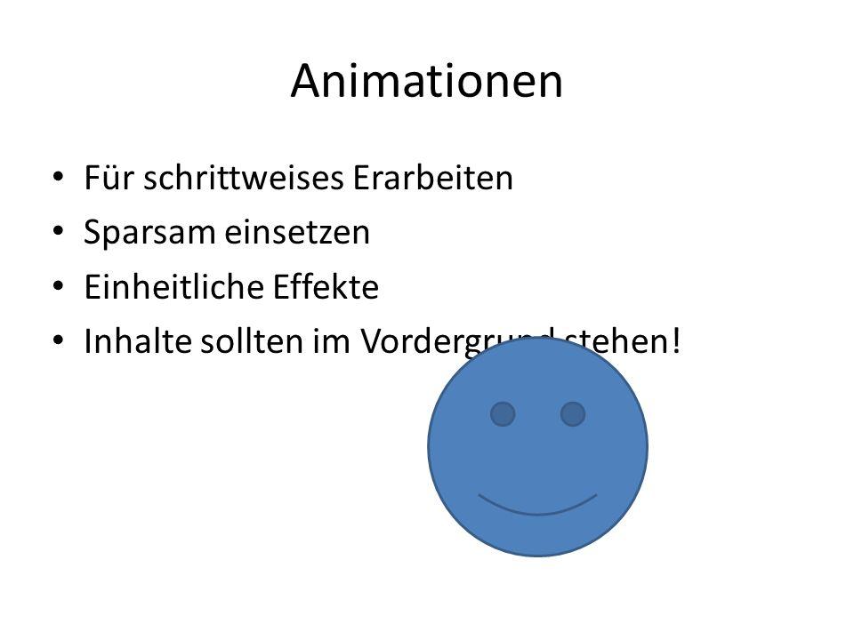 Animationen Für schrittweises Erarbeiten Sparsam einsetzen Einheitliche Effekte Inhalte sollten im Vordergrund stehen!
