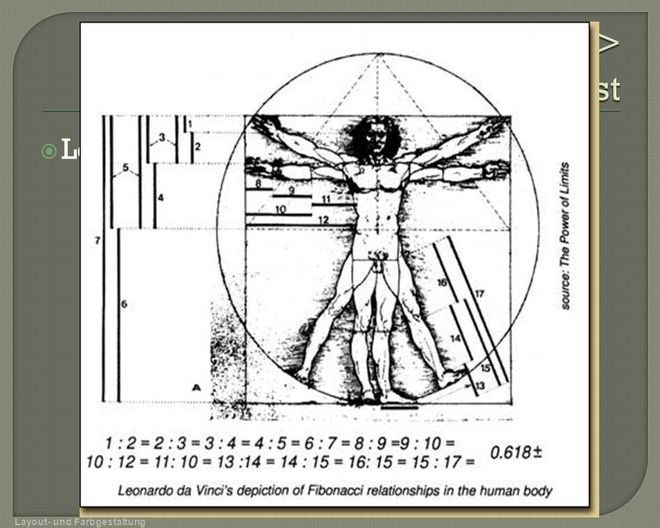 Leonardo da Vinci Layout- und Farbgestaltung