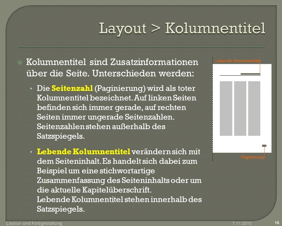 Kolumnentitel sind Zusatzinformationen über die Seite.