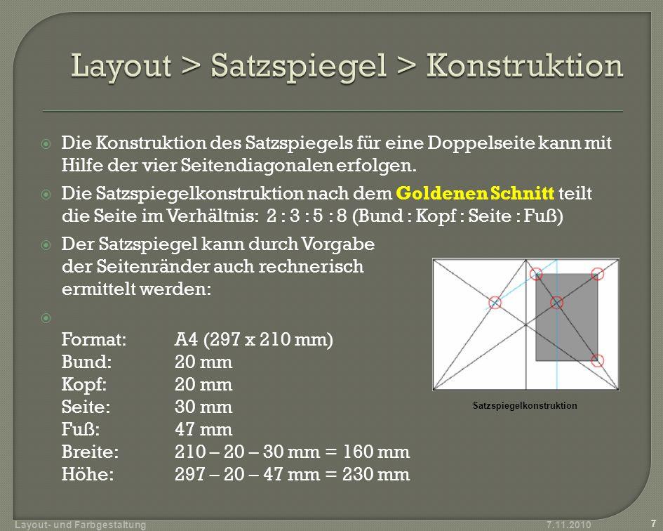 Die Konstruktion des Satzspiegels für eine Doppelseite kann mit Hilfe der vier Seitendiagonalen erfolgen. Die Satzspiegelkonstruktion nach dem Goldene