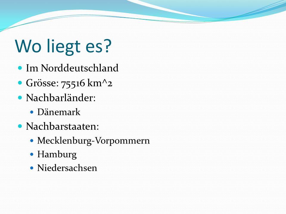Wo liegt es? Im Norddeutschland Grösse: 75516 km^2 Nachbarländer: Dänemark Nachbarstaaten: Mecklenburg-Vorpommern Hamburg Niedersachsen