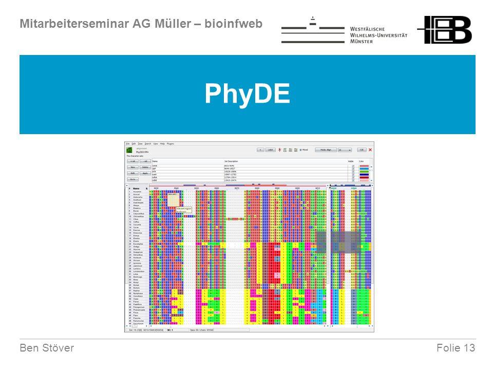 Mitarbeiterseminar AG Müller – bioinfweb Folie 13Ben Stöver PhyDE