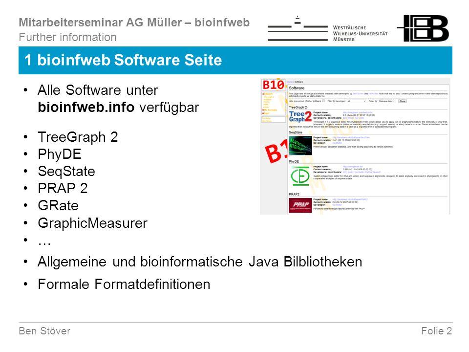 Mitarbeiterseminar AG Müller – bioinfweb Folie 23Ben Stöver 3.4 Analysesequenzen (2) GraphicMeasurer Benutzereingabe eines grafischen Objekts Kurve an einer Helligkeitsschwelle Mittellinie zwischen zwei Kurven Schwarz weiß Filter Filter Hintergrundsubtraktion - =