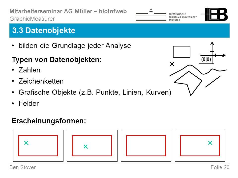 Mitarbeiterseminar AG Müller – bioinfweb Folie 20Ben Stöver 3.3 Datenobjekte GraphicMeasurer bilden die Grundlage jeder Analyse Erscheinungsformen: Typen von Datenobjekten: Zahlen Zeichenketten Grafische Objekte (z.B.