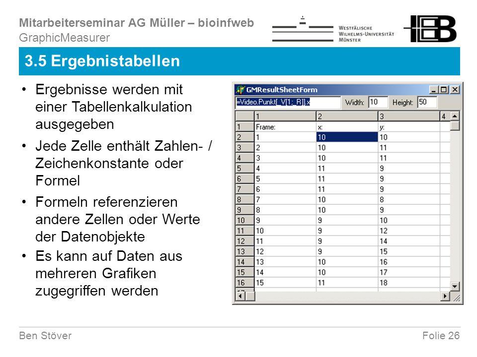 Mitarbeiterseminar AG Müller – bioinfweb Folie 26Ben Stöver 3.5 Ergebnistabellen Ergebnisse werden mit einer Tabellenkalkulation ausgegeben Jede Zelle enthält Zahlen- / Zeichenkonstante oder Formel Formeln referenzieren andere Zellen oder Werte der Datenobjekte Es kann auf Daten aus mehreren Grafiken zugegriffen werden GraphicMeasurer