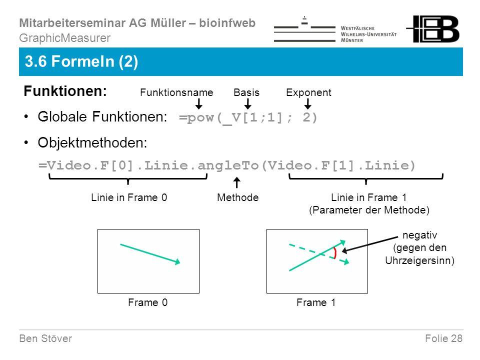 Mitarbeiterseminar AG Müller – bioinfweb Folie 28Ben Stöver 3.6 Formeln (2) GraphicMeasurer Globale Funktionen: =pow(_V[1;1]; 2) Basis Funktionen: Fun