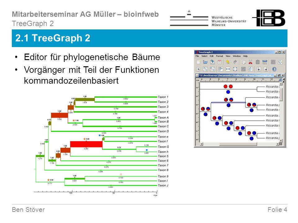 Mitarbeiterseminar AG Müller – bioinfweb Folie 25Ben Stöver 3.4 Analysesequenzen (Beispiel Strömungskanal) Schwellenlinie von oben nach unten (oberer Rand) Schwellenlinie von unten nach oben (untere Rand) Erkennung könnte zusätzlich auch für die Ventralansicht erfolgen Mittellinie bestimmen (danach erfolgt ein Sprung) GraphicMeasurer