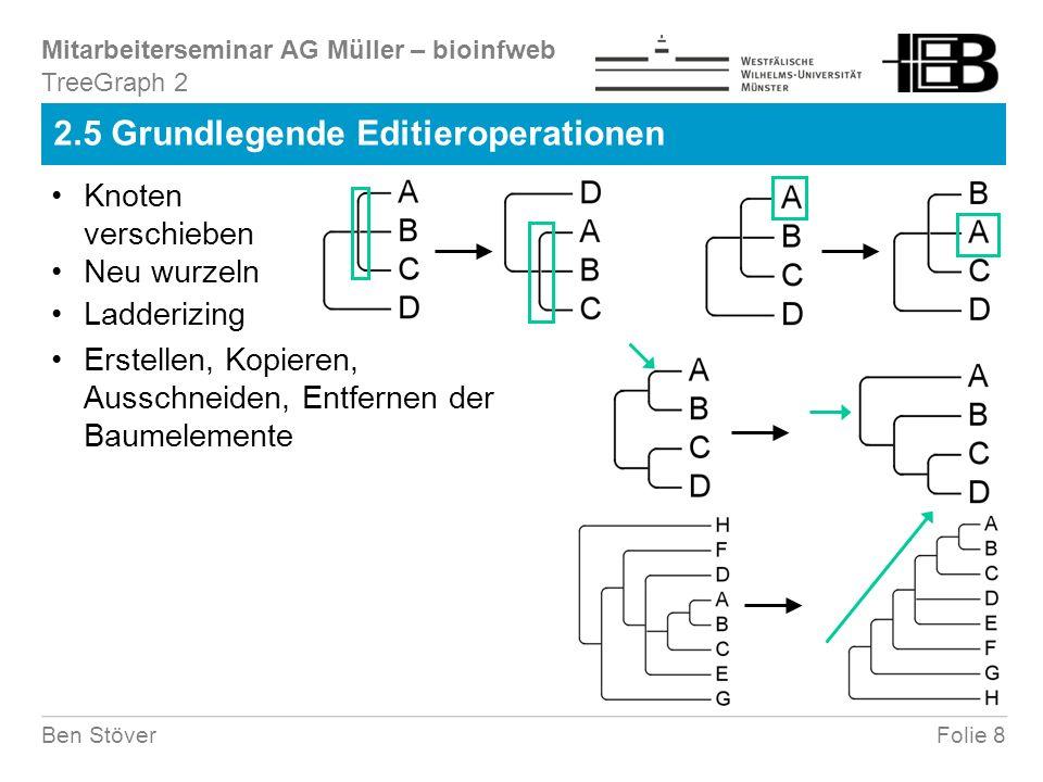 Mitarbeiterseminar AG Müller – bioinfweb Folie 8Ben Stöver 2.5 Grundlegende Editieroperationen TreeGraph 2 Knoten verschieben Neu wurzeln Ladderizing Erstellen, Kopieren, Ausschneiden, Entfernen der Baumelemente