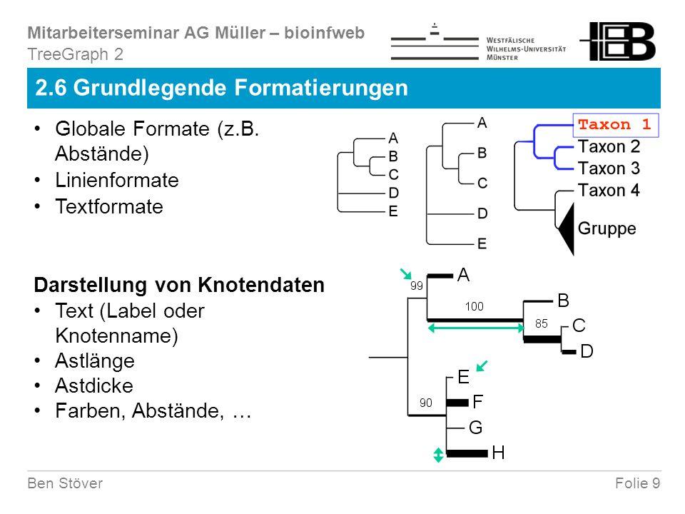 Mitarbeiterseminar AG Müller – bioinfweb Folie 9Ben Stöver 2.6 Grundlegende Formatierungen TreeGraph 2 Globale Formate (z.B.