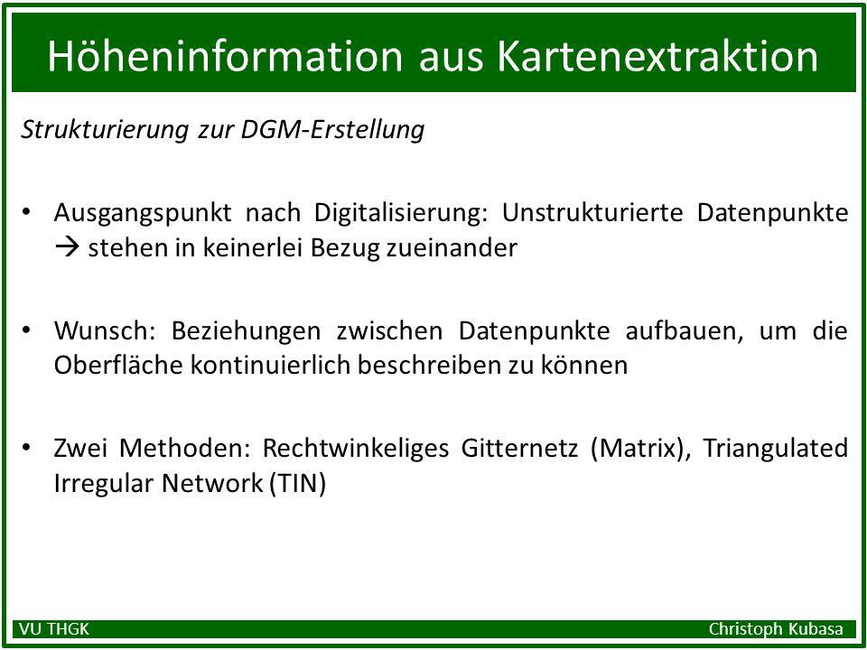 Höheninformation aus Kartenextraktion Strukturierung zur DGM-Erstellung Ausgangspunkt nach Digitalisierung: Unstrukturierte Datenpunkte stehen in kein