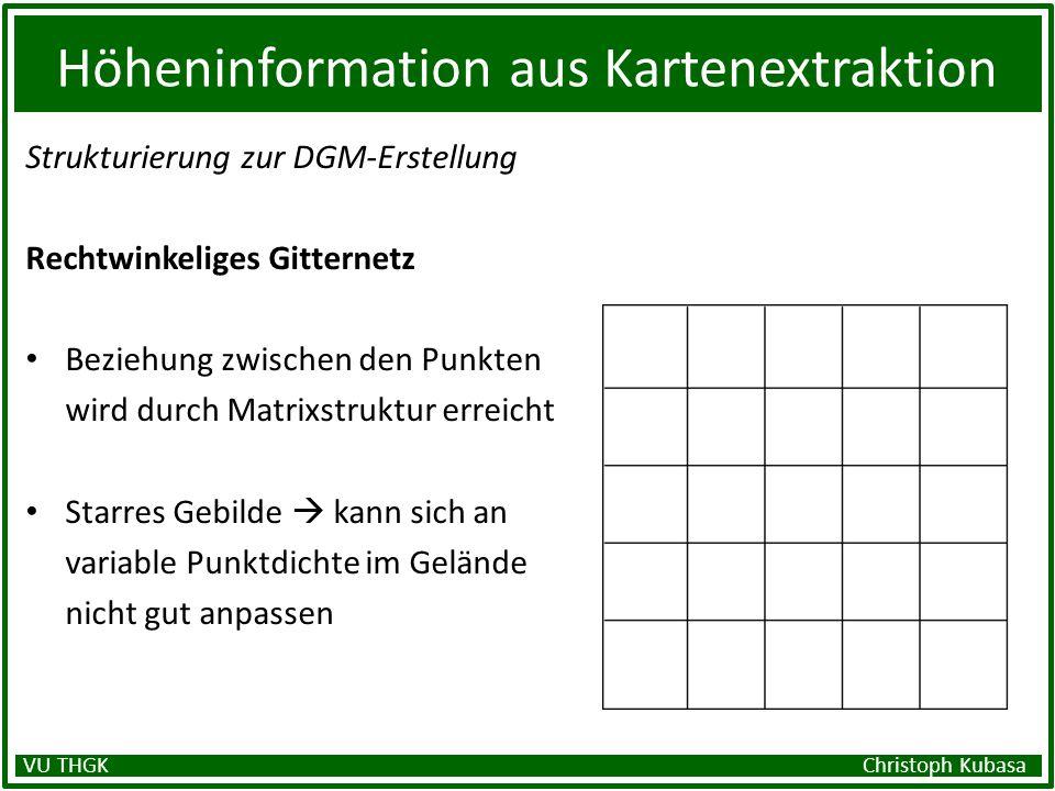 Höheninformation aus Kartenextraktion Strukturierung zur DGM-Erstellung Rechtwinkeliges Gitternetz Beziehung zwischen den Punkten wird durch Matrixstr