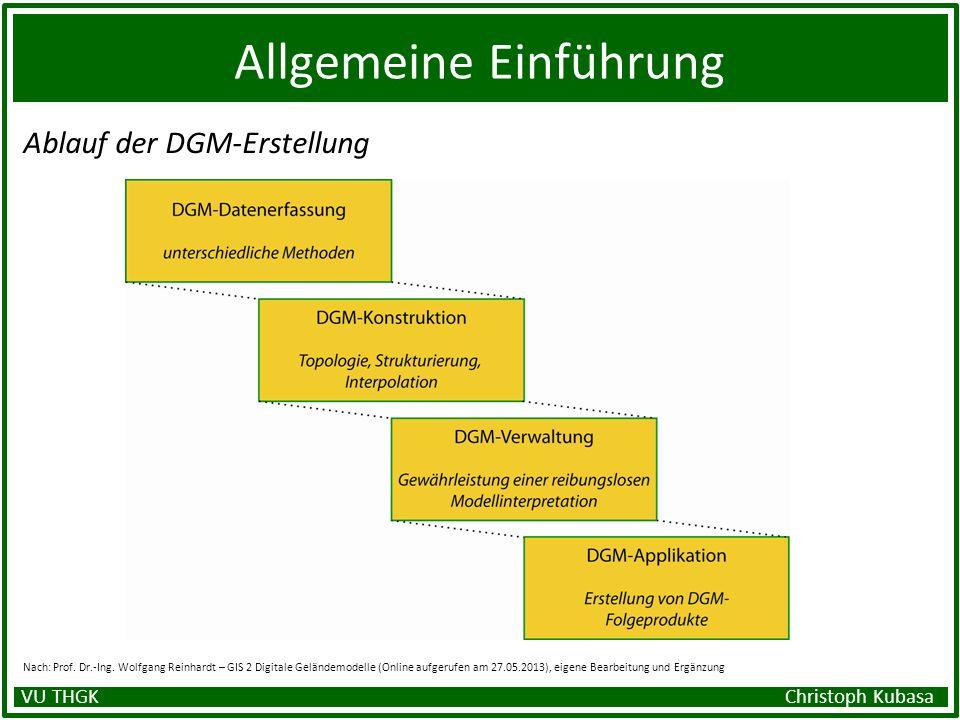 Allgemeine Einführung Ablauf der DGM-Erstellung Nach: Prof. Dr.-Ing. Wolfgang Reinhardt – GIS 2 Digitale Geländemodelle (Online aufgerufen am 27.05.20