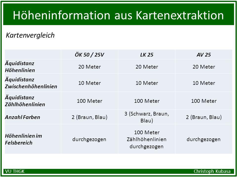 Höheninformation aus Kartenextraktion Kartenvergleich VU THGK Christoph Kubasa ÖK 50 / 25VLK 25AV 25 Äquidistanz Höhenlinien 20 Meter Äquidistanz Zwis