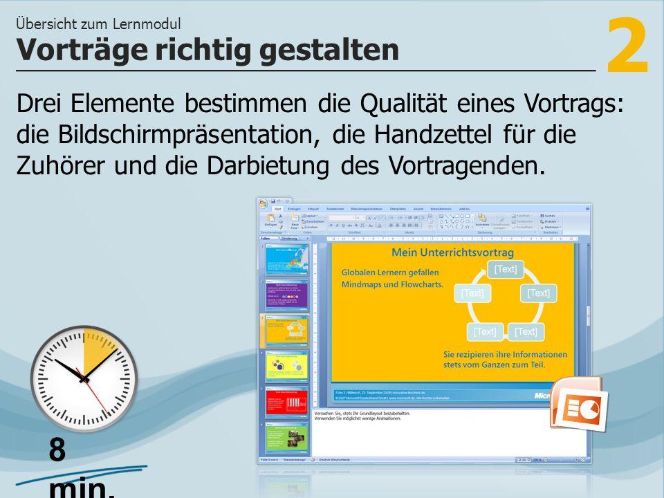 2 Drei Elemente bestimmen die Qualität eines Vortrags: die Bildschirmpräsentation, die Handzettel für die Zuhörer und die Darbietung des Vortragenden.