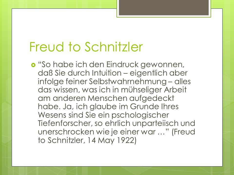 Freud to Schnitzler So habe ich den Eindruck gewonnen, daß Sie durch Intuition – eigentlich aber infolge feiner Selbstwahrnehmung – alles das wissen, was ich in mühseliger Arbeit am anderen Menschen aufgedeckt habe.