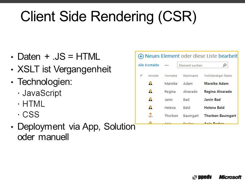 Client Side Rendering (CSR) Daten +.JS = HTML XSLT ist Vergangenheit Technologien: JavaScript HTML CSS Deployment via App, Solution oder manuell