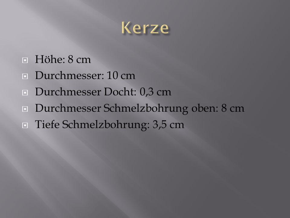 Höhe: 8 cm Durchmesser: 10 cm Durchmesser Docht: 0,3 cm Durchmesser Schmelzbohrung oben: 8 cm Tiefe Schmelzbohrung: 3,5 cm