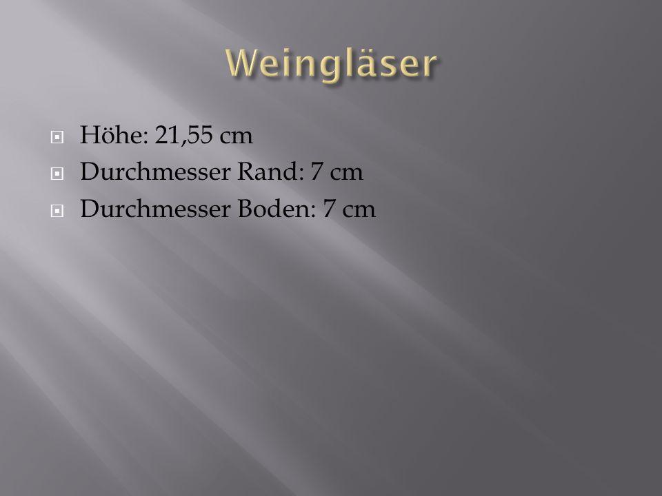 Höhe: 21,55 cm Durchmesser Rand: 7 cm Durchmesser Boden: 7 cm