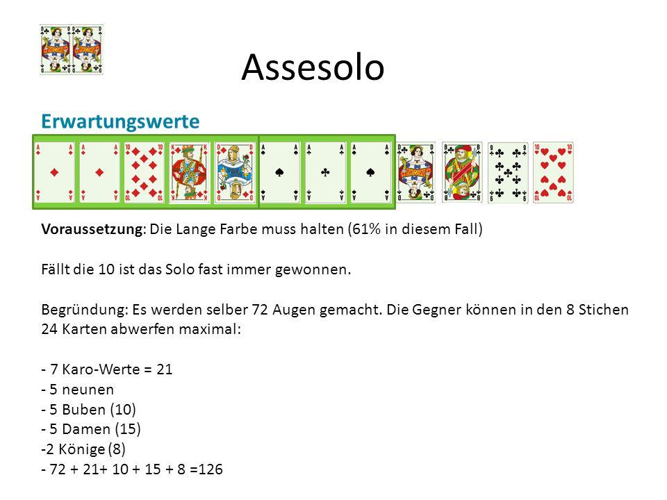 Assesolo Erwartungswerte Voraussetzung: Die Lange Farbe muss halten (61% in diesem Fall) Fällt die 10 ist das Solo fast immer gewonnen. Begründung: Es