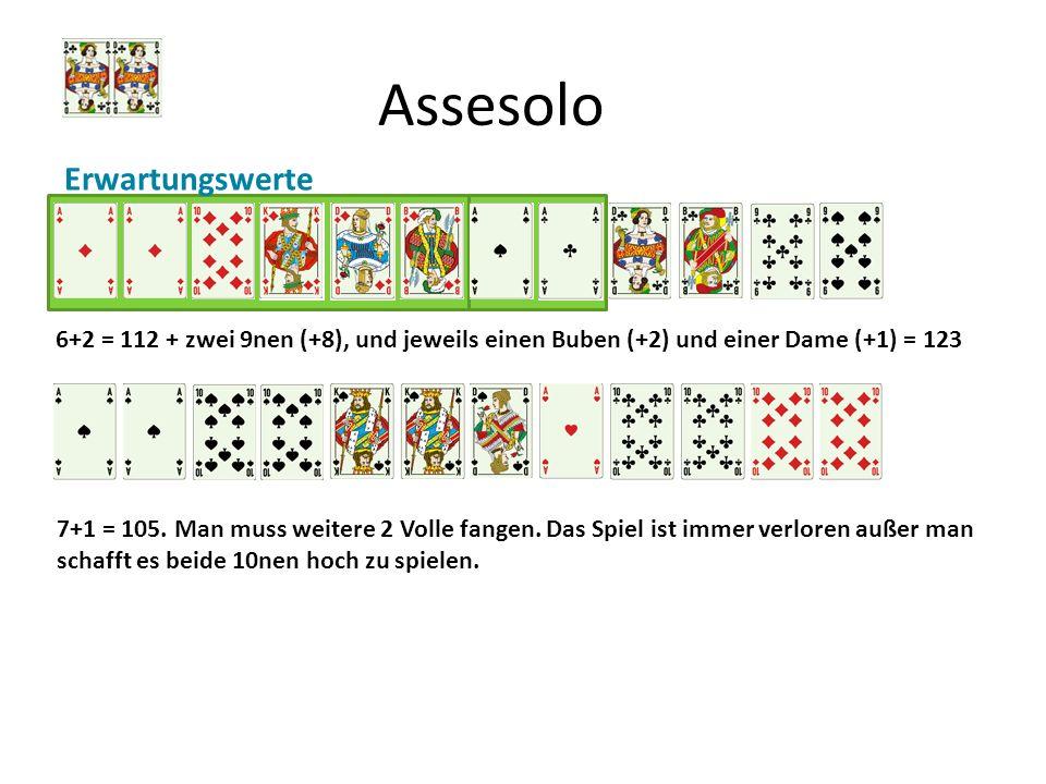 Assesolo Erwartungswerte 6+2 = 112 + zwei 9nen (+8), und jeweils einen Buben (+2) und einer Dame (+1) = 123 7+1 = 105. Man muss weitere 2 Volle fangen