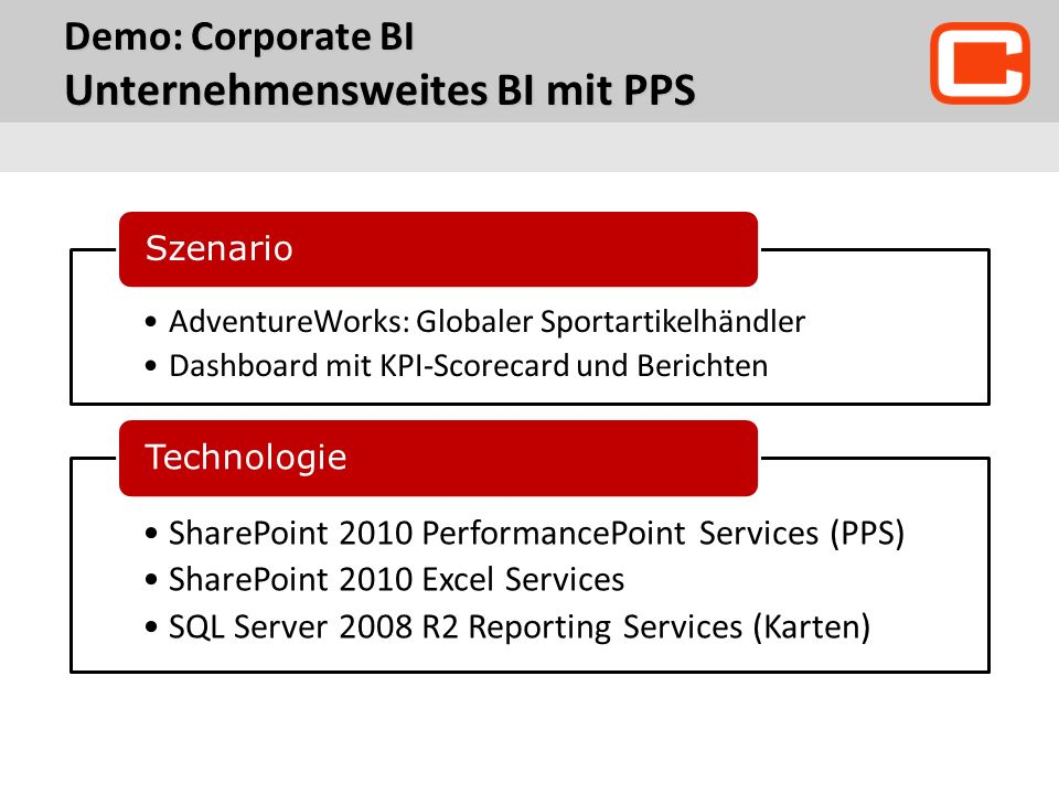 Demo: Corporate BI Unternehmensweites BI mit PPS AdventureWorks: Globaler Sportartikelhändler Dashboard mit KPI-Scorecard und Berichten Szenario SharePoint 2010 PerformancePoint Services (PPS) SharePoint 2010 Excel Services SQL Server 2008 R2 Reporting Services (Karten) Technologie