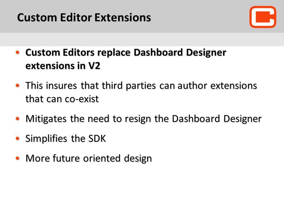 Custom Editor Extensions Custom Editors replace Dashboard Designer extensions in V2Custom Editors replace Dashboard Designer extensions in V2 This ins