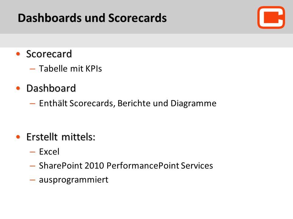Dashboards und Scorecards ScorecardScorecard – Tabelle mit KPIs DashboardDashboard – Enthält Scorecards, Berichte und Diagramme Erstellt mittels:Erstellt mittels: – Excel – SharePoint 2010 PerformancePoint Services – ausprogrammiert