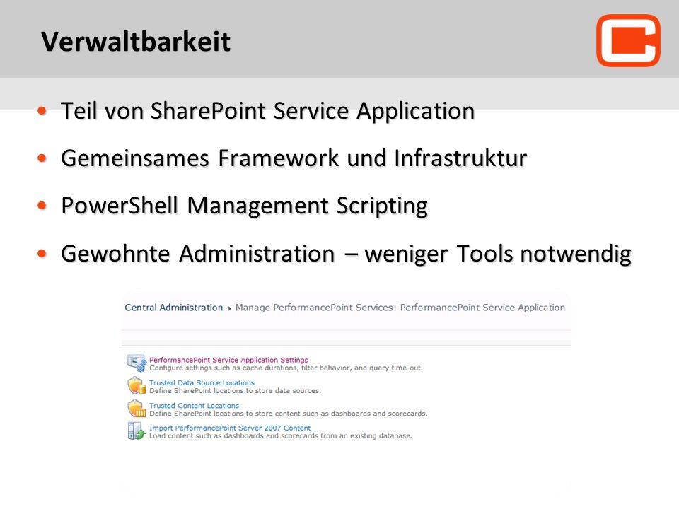 Verwaltbarkeit Teil von SharePoint Service ApplicationTeil von SharePoint Service Application Gemeinsames Framework und InfrastrukturGemeinsames Frame