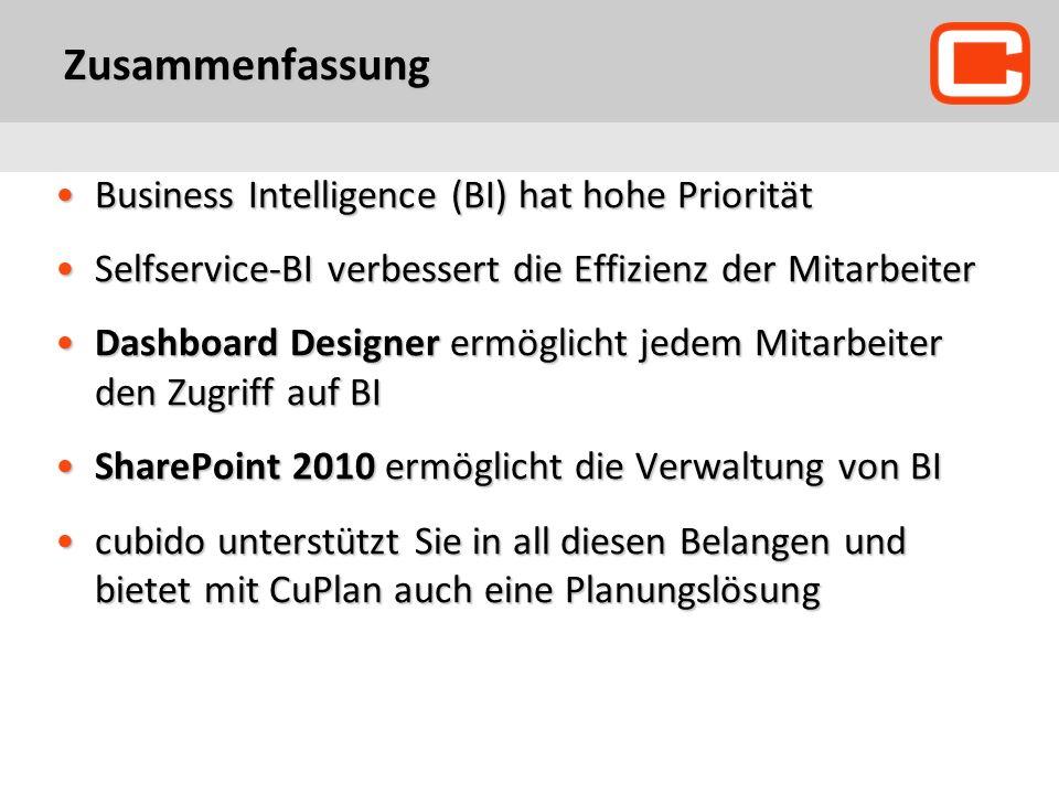 Zusammenfassung Business Intelligence (BI) hat hohe PrioritätBusiness Intelligence (BI) hat hohe Priorität Selfservice-BI verbessert die Effizienz der