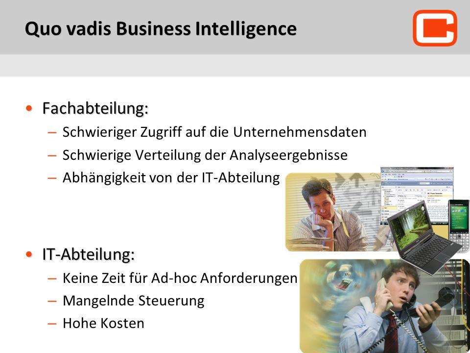 Quo vadis Business Intelligence Fachabteilung:Fachabteilung: – Schwieriger Zugriff auf die Unternehmensdaten – Schwierige Verteilung der Analyseergebnisse – Abhängigkeit von der IT-Abteilung IT-Abteilung:IT-Abteilung: – Keine Zeit für Ad-hoc Anforderungen – Mangelnde Steuerung – Hohe Kosten
