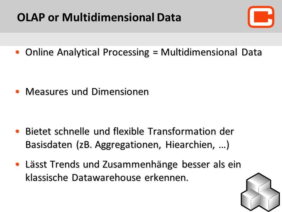 OLAP or Multidimensional Data Online Analytical Processing = Multidimensional DataOnline Analytical Processing = Multidimensional Data Measures und DimensionenMeasures und Dimensionen Bietet schnelle und flexible Transformation der Basisdaten (zB.