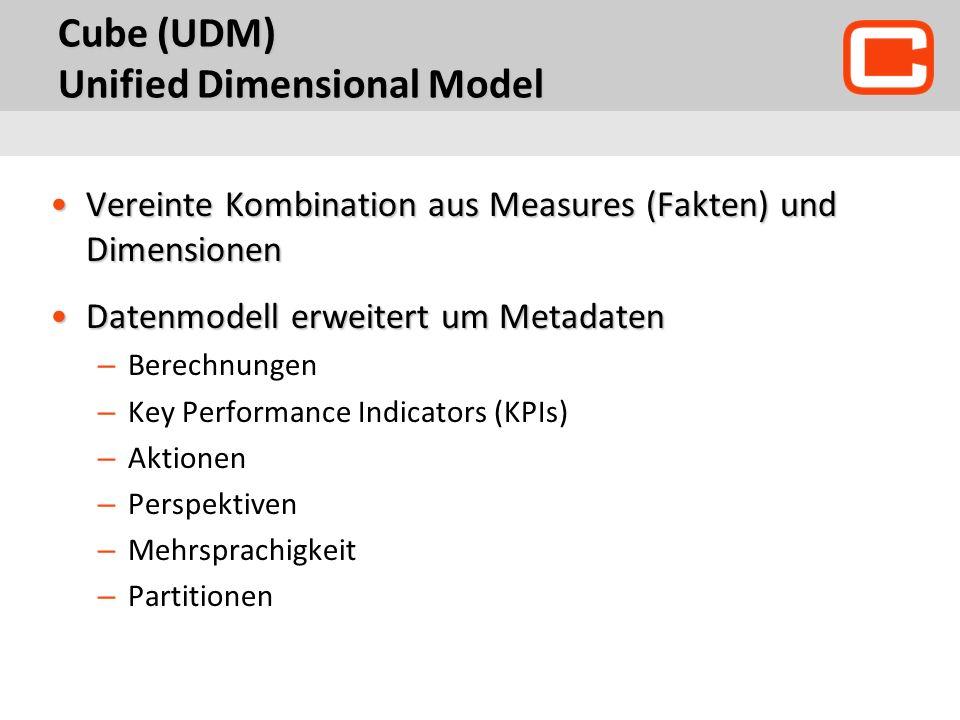 Cube (UDM) Unified Dimensional Model Vereinte Kombination aus Measures (Fakten) und DimensionenVereinte Kombination aus Measures (Fakten) und Dimensio