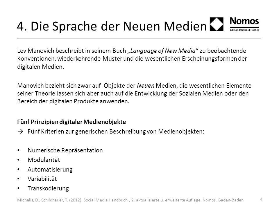 4. Die Sprache der Neuen Medien Lev Manovich beschreibt in seinem Buch Language of New Media zu beobachtende Konventionen, wiederkehrende Muster und d