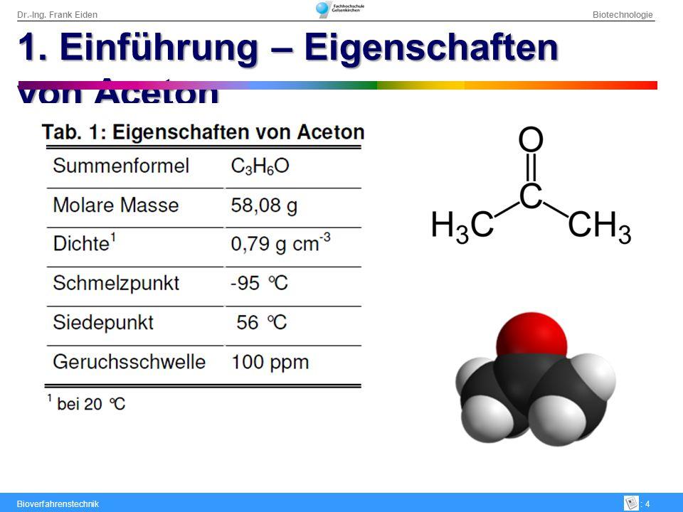 Dr.-Ing.Frank Eiden Biotechnologie Bioverfahrenstechnik: 5 1.
