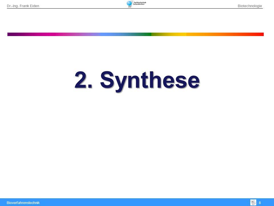 Dr.-Ing. Frank Eiden Biotechnologie Bioverfahrenstechnik: 9 2. Synthese – chemisch