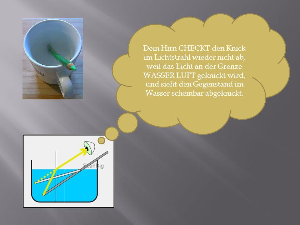 Dein Hirn CHECKT den Knick im Lichtstrahl wieder nicht ab, weil das Licht an der Grenze WASSER LUFT geknickt wird, und sieht den Gegenstand im Wasser