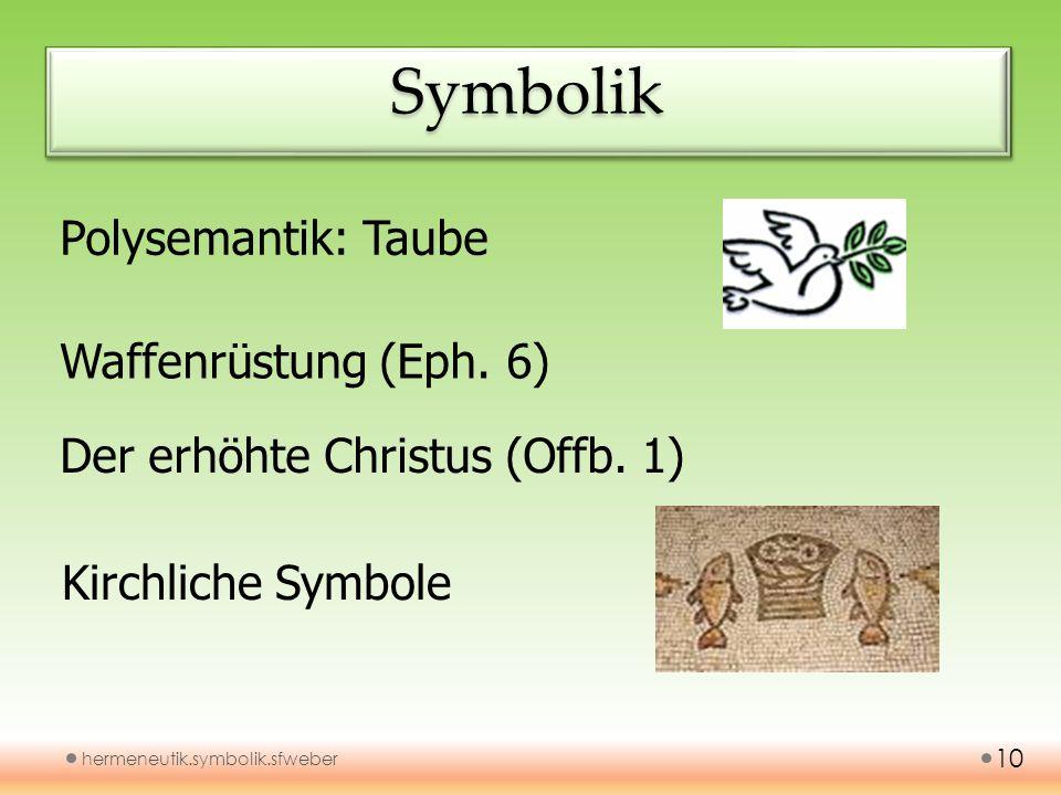 SymbolikSymbolik hermeneutik.symbolik.sfweber 10 Polysemantik: Taube Waffenrüstung (Eph. 6) Der erhöhte Christus (Offb. 1) Kirchliche Symbole